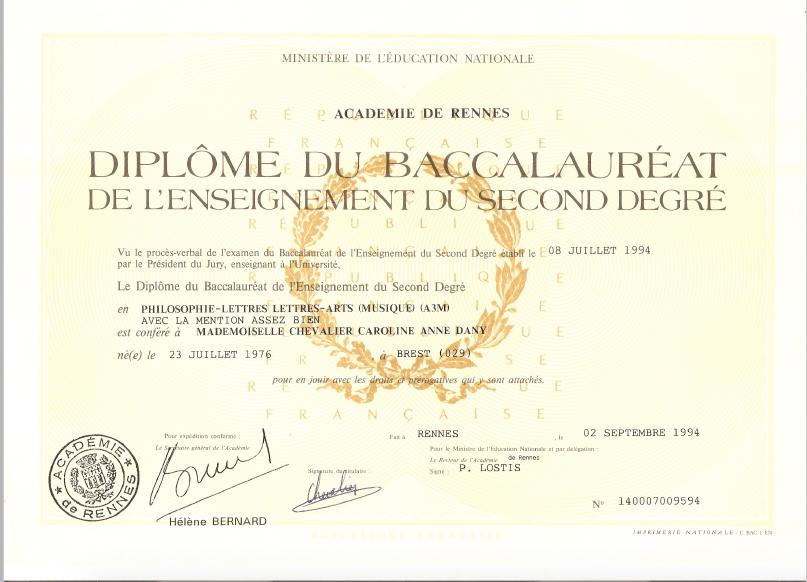Baccalauréat 1994