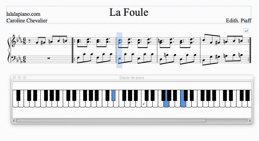 Partition La Foule Edith Piaf PIANO