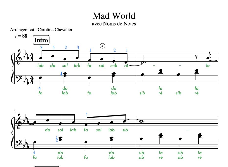 Super Partition Piano Mad World CW18